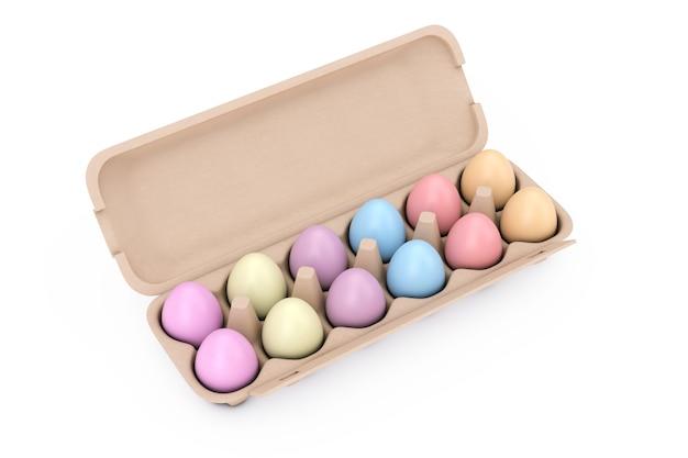 Свежие куриные разноцветные яйца в картонном контейнере коробки на белом фоне. 3d рендеринг