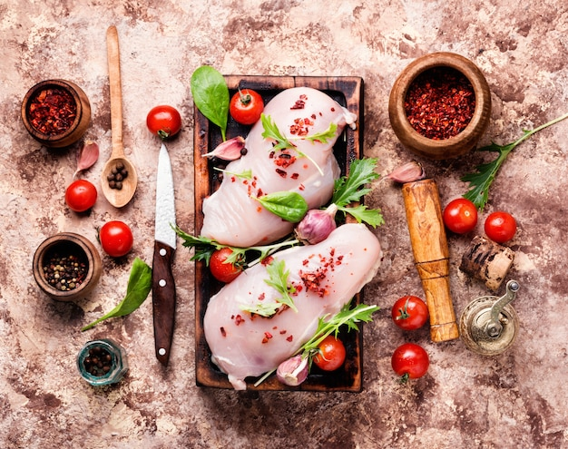 Fresh chicken with spices