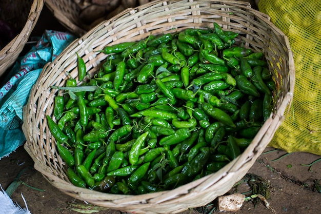 Fresh chilli is sold in the market in mauritius