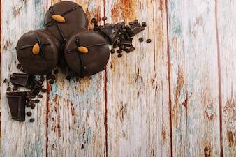 Fresh chocolate mini cakes
