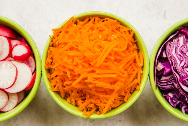 Fresh chopped carrot; cabbage and radish in green bowl