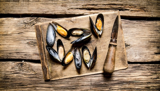 Fresh clams on a wooden board with knife. on wooden background. top view