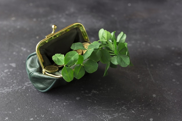 Fresh clover leaves from a green purse and gold coins are scattered on a dark background. st. patrick's day concept, flat lay