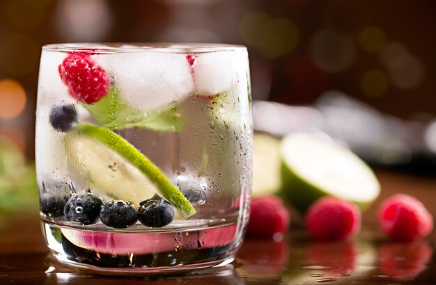 Fresh cocktail with mint and berries