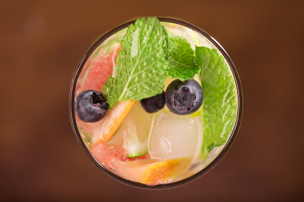 Fresh cocktail with mint, grapefruit