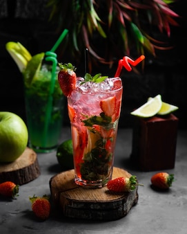 Fresh cocktail with strawberries and mint