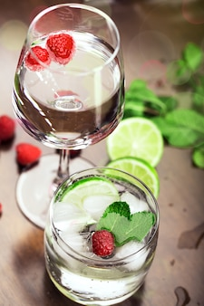 Fresh cocktails with mint and raspberry