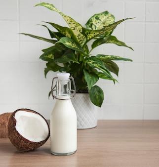 신선한 코코넛 밀크, 비건 비건 유제품 건강 음료