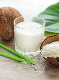 Fresh coconut milk, vegan non dairy healthy drink