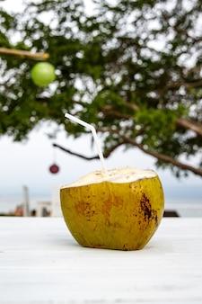 마실 준비가 신선한 코코넛.