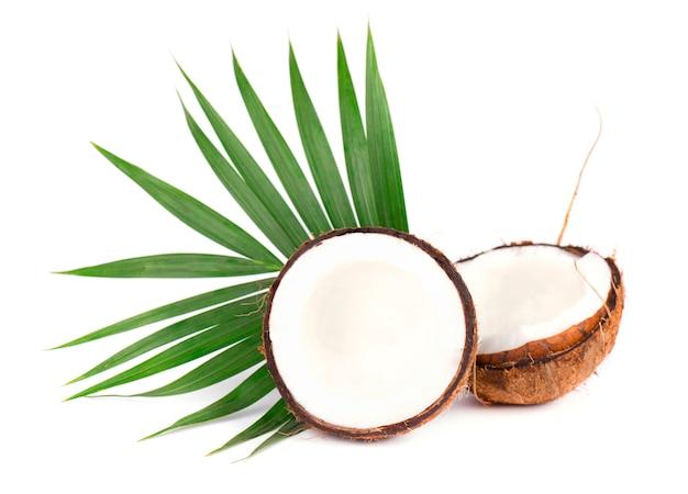흰색 배경에 고립 된 잎을 가진 신선한 코코넛