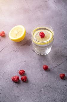 ガラスのレモン、ラズベリーの果実と新鮮な冷たい炭酸水ドリンク