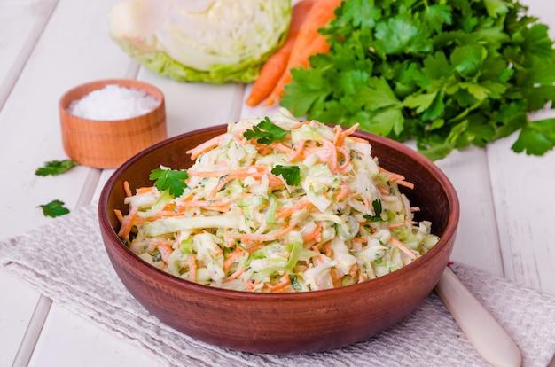 Fresh coleslaw salad in bowl