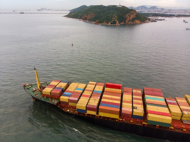 Fresh colorful container cargo ship