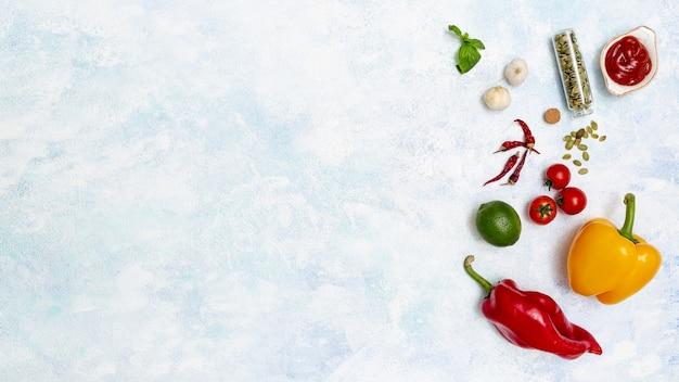 멕시코 요리를위한 신선한 다채로운 재료