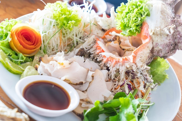 Fresh conch sashimi