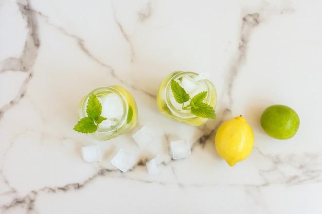 민트와 레몬을 넣은 신선하고 시원한 디톡스 물 음료. 민트 레모네이드 두 잔. 적절한 영양과 건강한 식생활의 개념. 피트니스 다이어트.