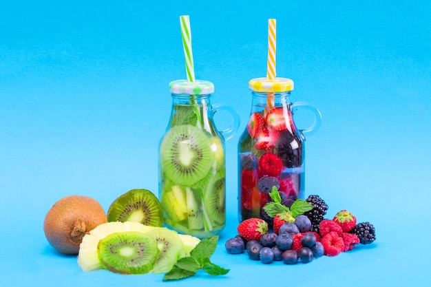 Fresh cool infused water,  detox drink