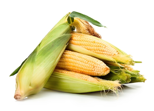 Свежие фрукты кукурузы с зелеными листьями, изолированные на белом фоне