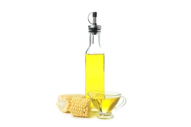 Fresh corn oil isolated on white background