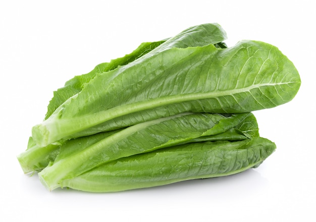 Fresh cos lettuce isolated on white background