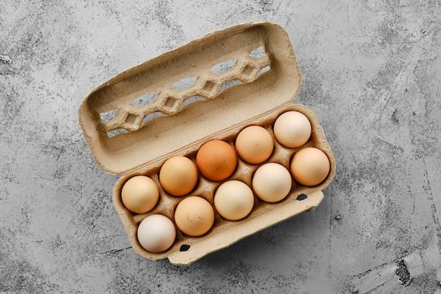 Fresh country eggs in cardboard packaging