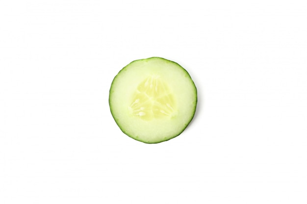 Fresh cucumber slice isolated on white background