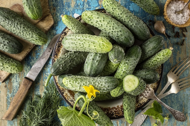 Fresh cucumbers in a bowl on table, top view