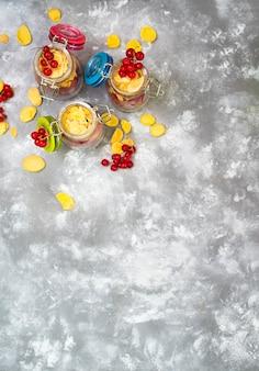 Fresh cut fruit in crystal jars