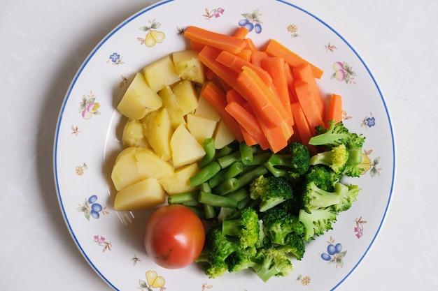 Fresh cut mix vegetables. top view
