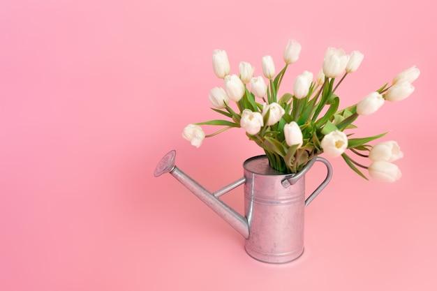 Свежесрезанные белые тюльпаны в стальной лейке