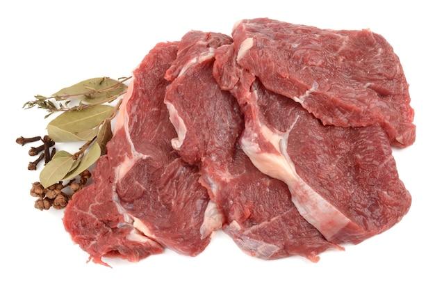 흰색 절연 쇠고기의 신선한 상처