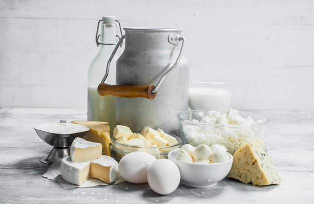 Fresh dairy products. on a rustic table.