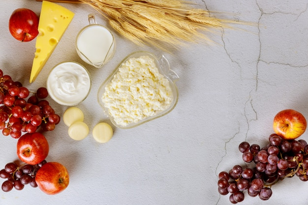 Fresh dairy products, tomatoes and grapes