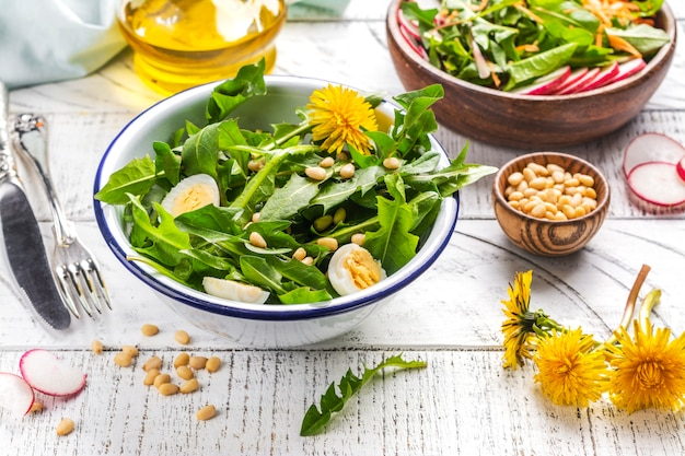 Fresh dandelion salad