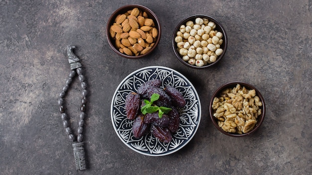 Fresh dates and nuts