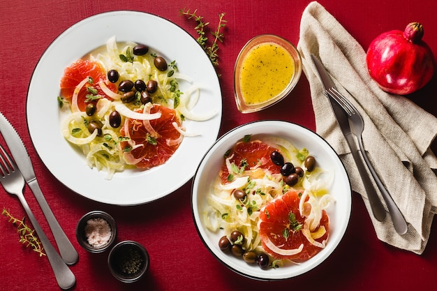 Fresh delicious salad of fennel and grapefruit