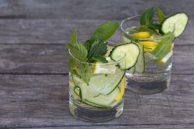 Fresh detox cocktail with cucumber and lemon. free copyspace.