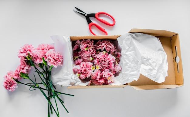 箱に入った新鮮なナデシコの花と白いテーブルのはさみ。夏の時間の概念