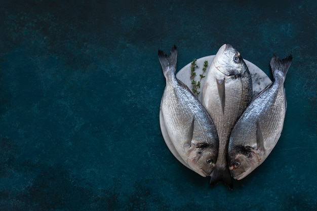 Fresh dorado fish on stone cutting board on blue table. top view, copy space.