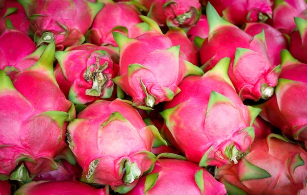Fresh dragon fruit in the market