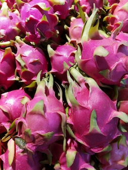 Fresh dragon fruit for sale in the supermarket.