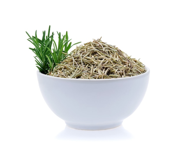 Fresh and dried rosemary isolated on white background