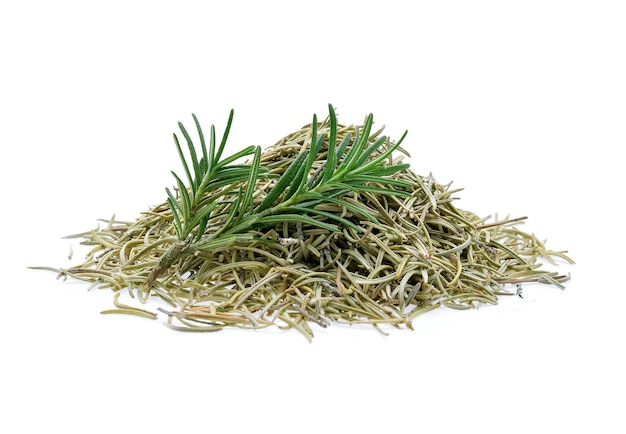 Fresh and dried rosemary isolated