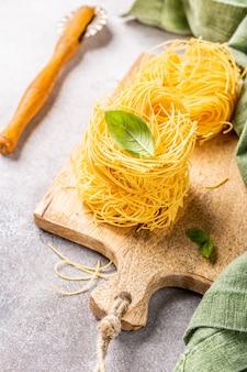Fresh egg pasta tagliatelle