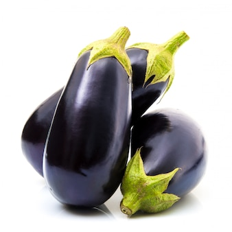 Fresh eggplant on white background
