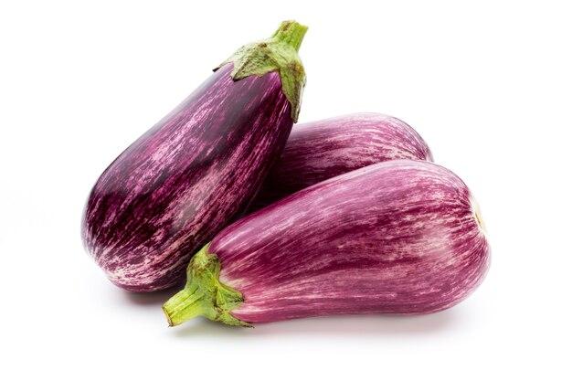Fresh eggplants, aubergine on a white background
