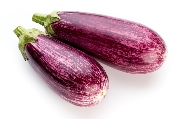 Fresh eggplants, aubergine on a withe background.