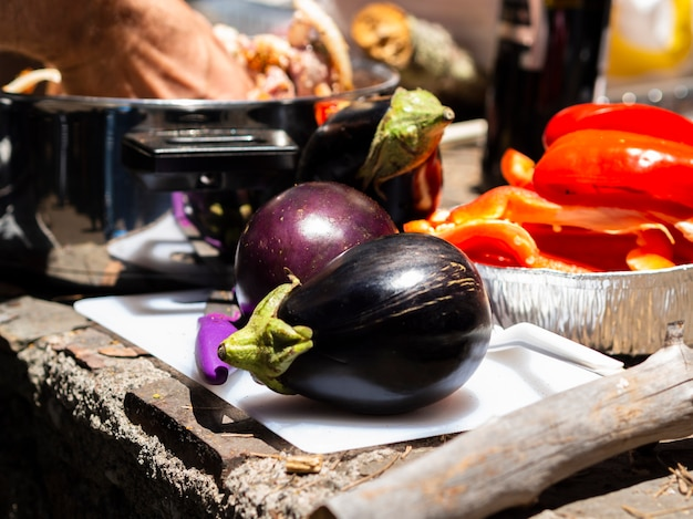 Fresh eggplants ready for cooking
