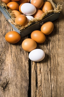 Fresh eggs from the box